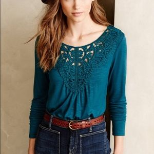 turquoise Anthropologie long sleeved shirt